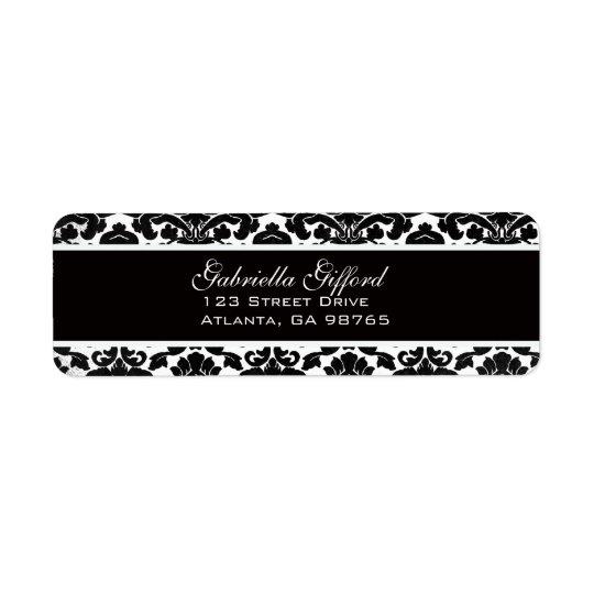 Vintage Divine Damask Black Return Address Label