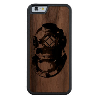 vintage diving helmet scuba beach ocean unique fun carved walnut iPhone 6 bumper case