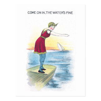 Vintage Diving Lady at the Shore Postcard