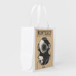 Vintage Diving poster to Monterey California USA Reusable Grocery Bag