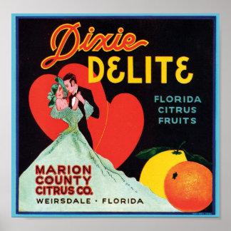 Vintage Dixie Delite Fruit Crate Label Poster