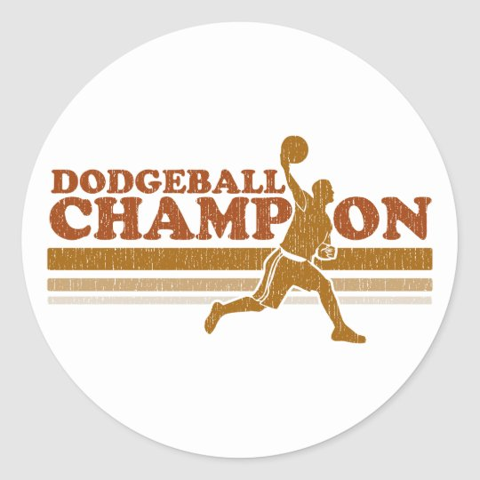 Vintage Dodgeball Champion Round Sticker