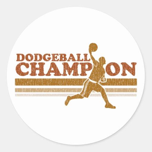Vintage Dodgeball Champion Round Stickers