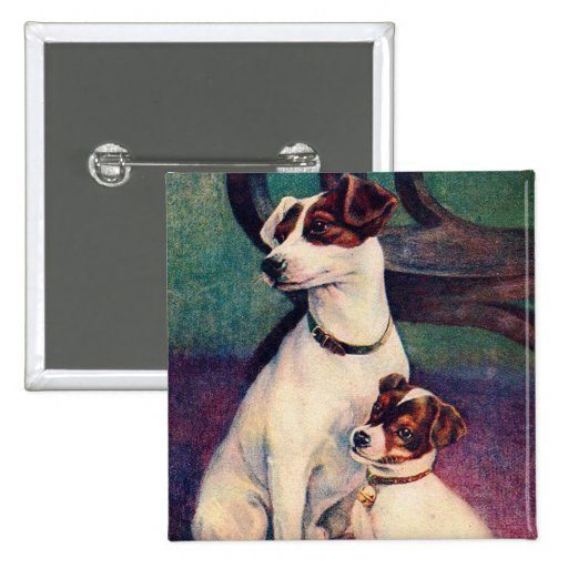 Vintage Dog and Puppy Canine Father & Son Postcard Pinback Buttons
