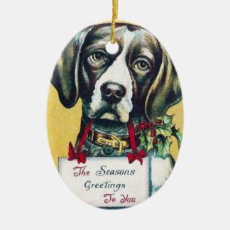 Vintage Dog Christmas Greetings Ornament