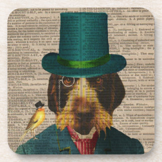 Vintage Dog Illustration Cork Coasters