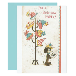 Vintage Doggy King Birthday Party Invitation