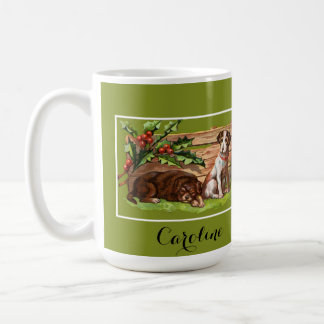 Vintage Dogs and Mistletoe Personalized Mugs