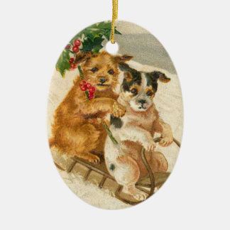 Vintage Dogs on a Sled Christmas Ornament