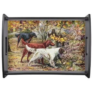 Vintage Dogs Setter Trio Black Serving Tray