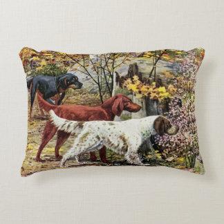 Vintage Dogs Setter Trio Decorative Cushion