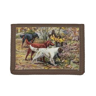 Vintage Dogs Setter Trio TriFold Nylon Wallet