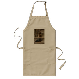 Vintage Dogs Sitting on a Staircase Long Apron