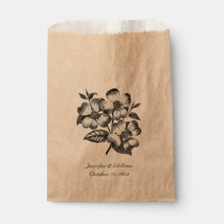 Vintage Dogwood Illustration Wedding Favor Bag