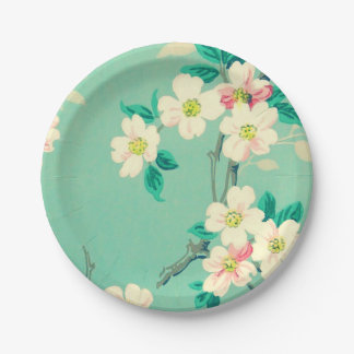 Vintage dogwood wallpaper paper plates