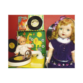 Vintage Dolls with Record Player Canvas Prints