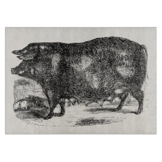 Vintage Domestic Pig Piglets Personalized Animals Cutting Board