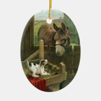 Vintage Donkey & Puppy Dog in Manger Old Barnyard Ceramic Oval Decoration