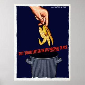 Vintage Don't Litter Environment Poster