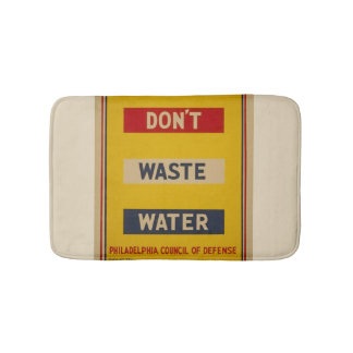 "Vintage ""Don't Waste Water"" Bathmat Bath Mats"