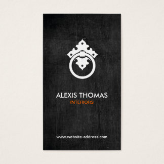VINTAGE DOOR KNOCKER LOGO ON BLACK WOOD BUSINESS CARD
