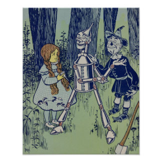 Vintage Dorothy Tinman and Scarecrow Poster