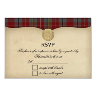 Vintage Douglas Ancient Red Tartan Wedding RSVP Card