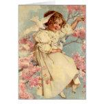 Vintage Dove Girl - Card