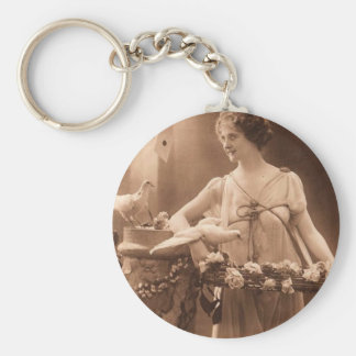 Vintage Dove Lady Key Ring