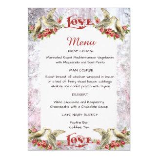 Vintage Dove Wedding Menu Card