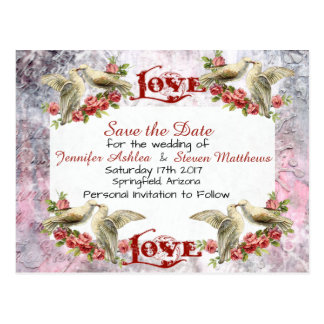 Vintage Dove Wedding Save The Date Postcard