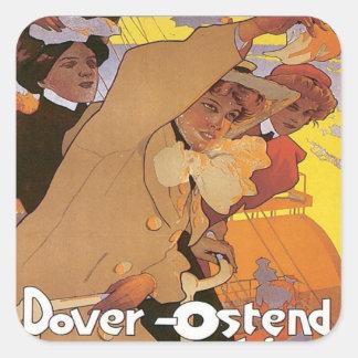 Vintage Dover Ostend Line Square Sticker