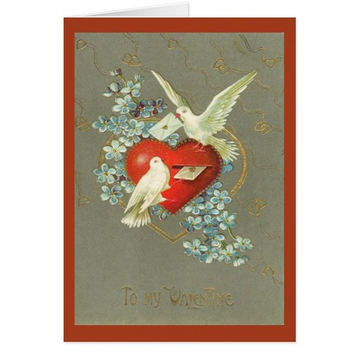 Vintage Doves and Heart Valentines Day Greeting Cards