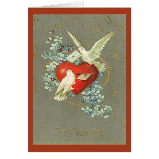 Vintage Doves and Heart Valentines Day Card