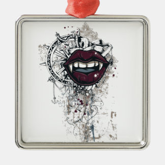 vintage dracula lips metal ornament