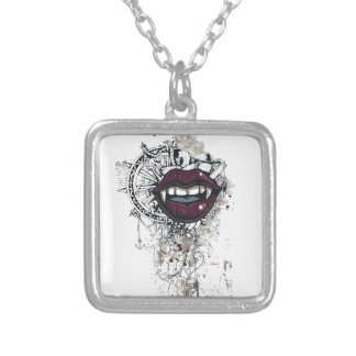 vintage dracula lips silver plated necklace