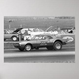 """Vintage Drag - Mr Gasket """"Test Car"""" Camaro Poster"""