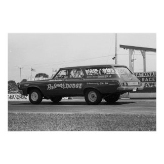 Vintage Drag Racing - 1964 Dodge 330 Wagon Poster