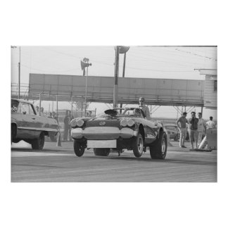 Vintage Drag Racing - Corvette at Lions Strip Poster
