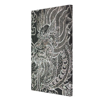 Vintage Dragon Tribal Art Canvas Print