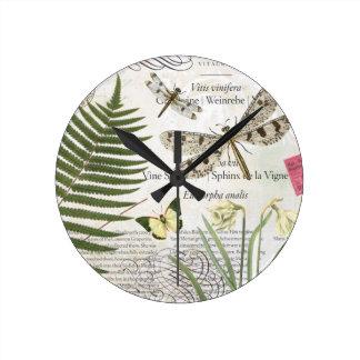 Vintage Dragonflies clock