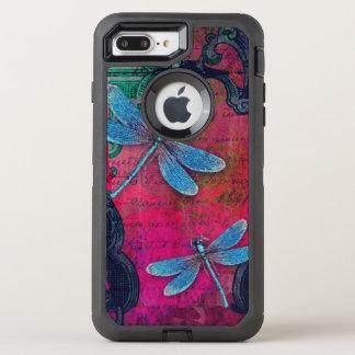 Vintage Dragonfly Collage French Script Decorative OtterBox Defender iPhone 8 Plus/7 Plus Case