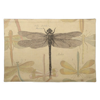 Vintage dragonfly drawing placemat
