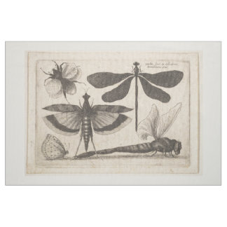 Vintage Dragongly Bee Entomology Tapestry (61) Fabric