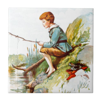 Vintage Drawing: Boy Fishing in a River Small Square Tile