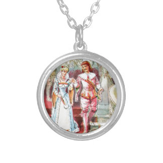 Vintage Drawing: Cinderella and the Prince Silver Plated Necklace