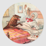 Vintage Drawing: Grandma and the Wolf Round Sticker