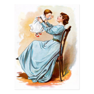 Vintage Drawing: Mother with Baby Girl Postcard