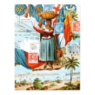 Vintage Drawing: Netherlands Antilles Postcard