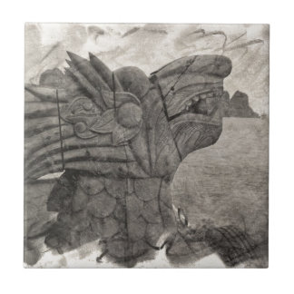 Vintage Drawing of a Dragon of Halong Bay, Vietnam Small Square Tile